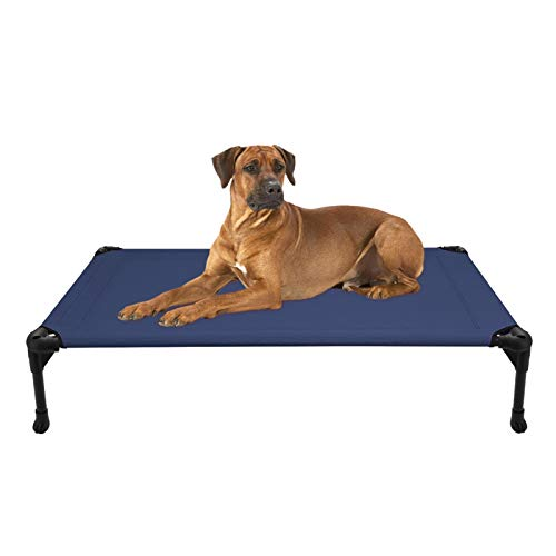 Veehoo Cooling Elevated Dog Bed - Portable Raised Pet Cot with Washable & Breathable Mesh, No-Slip Rubber Feet for Indoor & Outdoor Use, Oversize Package, Large, Blue