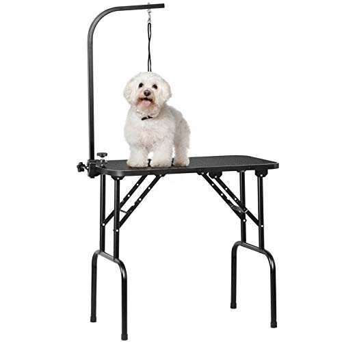 Yaheetech Pet Dog Grooming Table With Adjustable Folding Arm, Loop Noose Maximum Capacity Up to 100KG, 32 inch Black