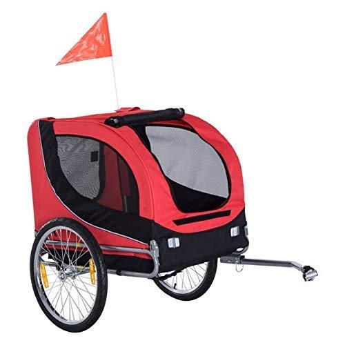 Pawhut Folding Dog Bike Trailer Pet Bicycle Jogger Travel Carrier (Red)