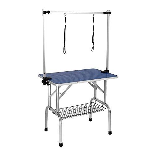 iKayaa Adjustable Large Pet Dog Grooming Table Bath Folding W/ Arm & Noose & Shelf 36'