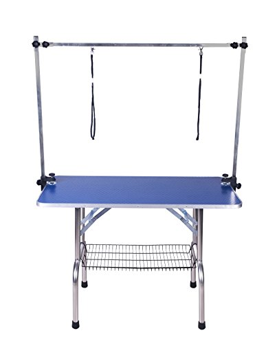 BTM Extra Large PRO H-Frame Dog Pet Grooming Table Portable Folding & Arm Noose, Size W115 x D55 x H79 cm / 44 x 22 x 32 Inche (LARGE, BLUE)