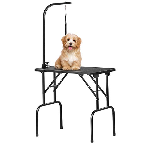 Yaheetech 32 inch Adjustable Foldable Pet Dog Grooming Table W/Loop Noose Arm Maximum Capacity Up to 100KG, 80.5 x 46 x 76cm, L x W x H