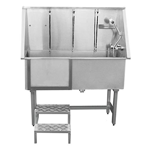 MonsterShop Dog Grooming Bath Stainless Steel 400mm Professional Pet Washing Station Large Groomer Bathing Tub Cleaning Metal Shower Walk In | FREE Gloves | With Faucet And Drainage Kit