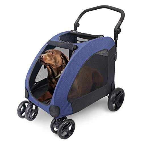 Pet Four-wheeled Stroller Dog Trolley Cat Carts Foldable for Medium Large Dogs Outgoing, Load Within 60kg (Blue)