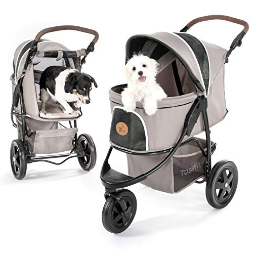 TOGfit Pet Roadster - Luxury Pet Stroller for Puppy, Senior Dog or Cat | Easy Foldable Three Wheels Travel Pet Jogger max. loading 32 kg, Mattress included - Grey