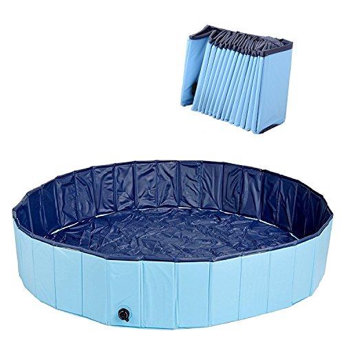 Kaka mall Multifunctional Large Foldable Pets Dog Cat Swimming Paddling Pool Bath Bathing Tub Plastic Aerated Gas-filled PVC (Blue, L)