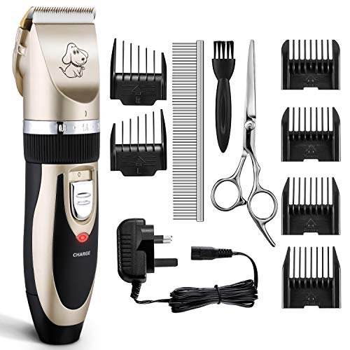 Dog Clippers, OMORC Cat Hair Trimmer Low Noise | Rechargeable Cordless Pet Clippers | Professional Dog Hair Trimmer with 6 Comb Guides & Pro Accessories | Best Grooming Clippers for Dogs Cats Horses