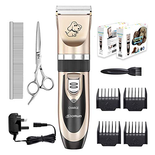 Dog clippers, Everesta Low Noise Rechargeable Cordless Pet Dogs and Cats Electric Grooming Clippers Kit with Shears and Comb (Gold+Black)