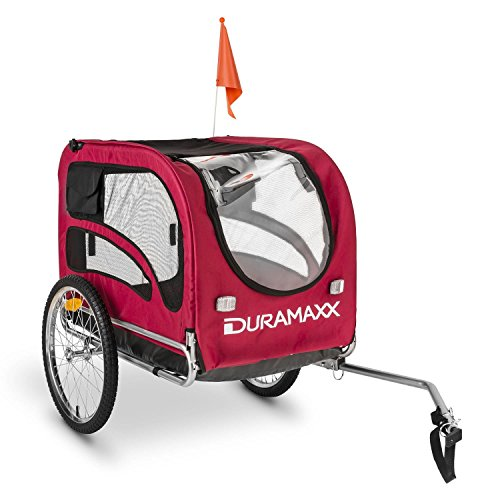 Duramaxx King Rex Dog Trailer - 250 Litre Cargo Space, Up to 40 kg, Powder Coated Steel Tube, Stable, Ideal for Small to Medium Sized Dogs, Folds up for Compact Storage, Black/Red