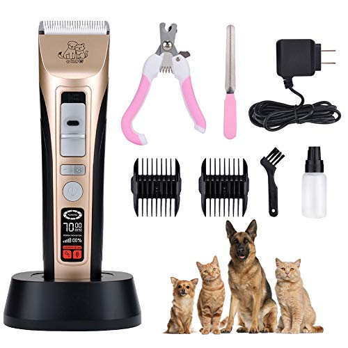 Pet Grooming Clippers 5 Speed Up To 7000 RPM Dog Clippers Heavy Duty Rechargeable Dog Trimmer Low Noise Dog Grooming Clippers Kit LCD Screen Pet Electric Clippers Professional Cat Shaver for Dogs Cats