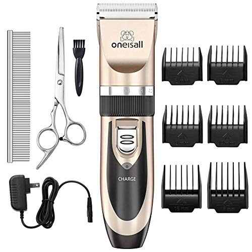 ONEISALL Pet Grooming Clipper Kits Low noise Dog and Cat Rechargeable Cordless Electric Queit Clippers Set