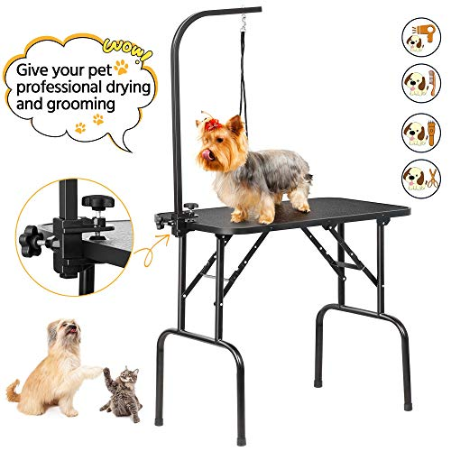 Yaheetech 32 inch Adjustable Foldable Dog Grooming Table With Arm Folding, Loop Noose Black Maximum Capacity Up to 100KG