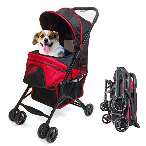 ROODO Escort 4 Wheel Pet Stroller for Cats/Dogs,Lightweight, Compact, Portable, Practical, Removable,Support 30 Pound Animals (Red)